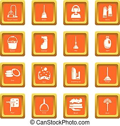 Cleaning tools icons set orange square vector