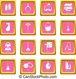 Cleaning tools icons set pink square vector