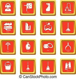Cleaning tools icons set red square vector
