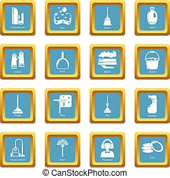 Cleaning tools icons set sapphirine square vector