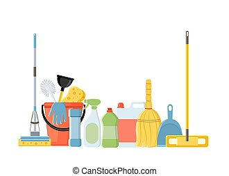 Cleaning tools in flat cartoon style vector illustration isolate