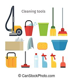 Cleaning Tools Isolated. House Washing Equipment.