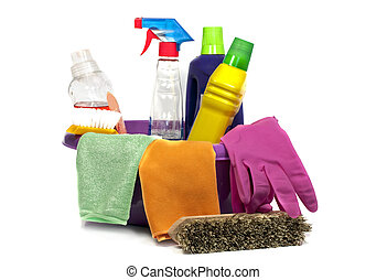 cleaning tools - pink sink with cleaning tools and liquid...