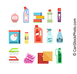 Cleaning tools vector set. Detergents for cleaning home or...