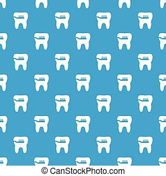 Cleaning tooth pattern vector seamless blue
