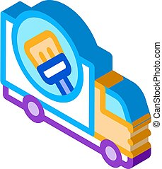Cleaning Truck Isometric Icon Vector Illustration