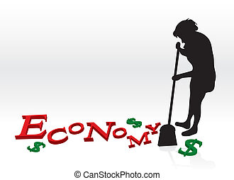 Cleaning Up The Economy - A woman cleaning up the bad ...