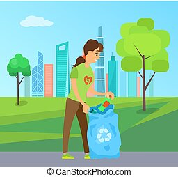 Cleaning up the Environment, Woman Collect Garbage
