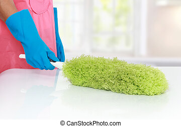 cleaning using Soft duster - gesture of hand cleaning table...