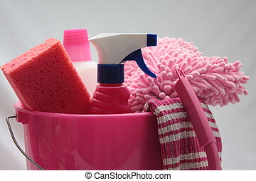 cleaning utilities - pink bucket with cleaning equipment