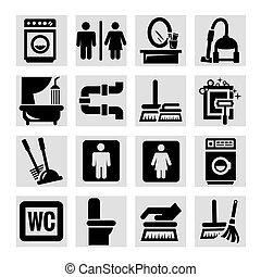 cleaning vector icons set - Elegant Vector Black Cleaning...