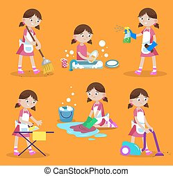 Cleaning vector illustration. House cleaning. Girl is busy at home: wash dishes, wash the floor, iron, vacuum, sweep, wash window