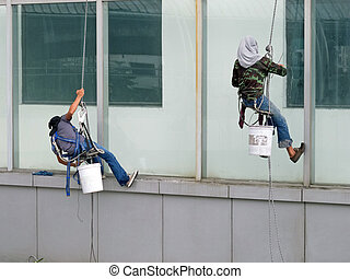 cleaning windows building