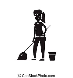 Cleaning with a mop black vector concept icon. Cleaning with a mop flat illustration, sign