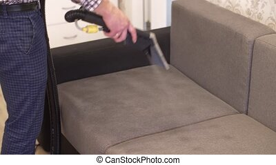 Cleaning with washing vacuum - Sofa chemical cleaning with...
