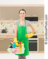 cleaning woman at home