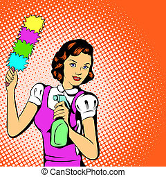 Cleaning woman concept, comics style - Cleaning woman...