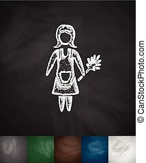 cleaning woman icon. Hand drawn vector illustration....