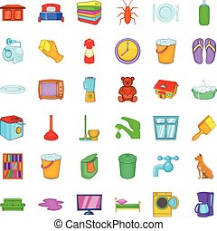 Cleaning woman icons set, cartoon style - Cleaning woman...