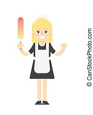 Cleaning woman in uniform icon. Professional cleaning...