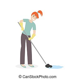 Cleaning woman or a housewife washing mop floors. Clean the house. Illustration in cartoon style isolated on white background. Vector,flat EPS10.