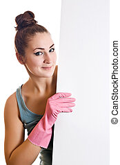 Cleaning woman showing a white paper