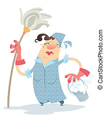 Cleaning woman - A sad cartoon cleaning lady, holding a mop...