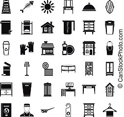 Cleaning work icons set, simple style