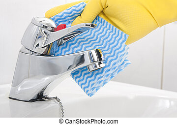 Cleansing Faucet - Cleaning Bathroom Tap with Dishcloth in ...