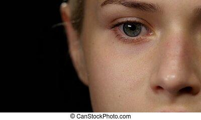Cleansing healthy skin. Black. Closeup - Cleansing healthy...