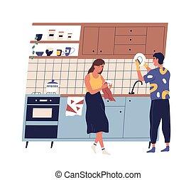 cleanup., 家庭, 卡通漫画, 妻子, 家务劳动, 套间, 洗涤, 家, 盘, 夫妇, kitchen., 丈夫, 一起, 矢量, 发生地点, 每天, 描述, 摩擦, 年轻, 日常事务