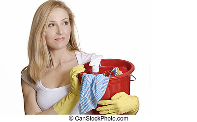 Woman with bucket of cleaning stuff