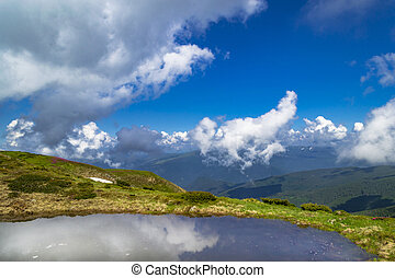 Clear Alpine lake with reflection of blue cloudy sky