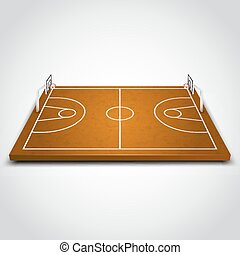 Clear basketball field - Clear 3d basketball field on white...