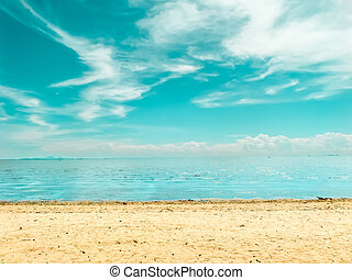 clear beach and blue sky white cloud in summer