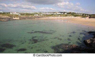 Treyarnon Bay Cornwall England UK - Clear blue sea Treyarnon...