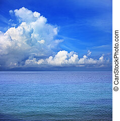 clear blue sky white cloud and sea