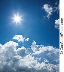 blue sky - clear blue sky with sun and cloud