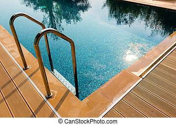 clear blue swimming pool
