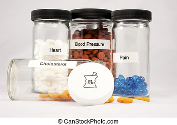 Clear bottles filled with pills and capsules labelled Cholesterol, Heart, Blood Pressure and Pain with a cap showing a mortar and pestle Rx symbol