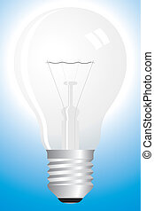 Clear bulb on blue