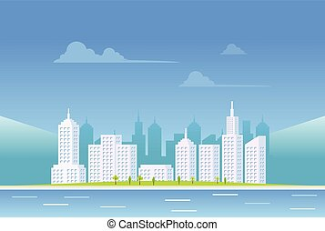 Clear city landscape background.