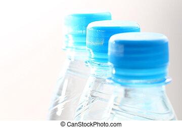 blue water in bottle