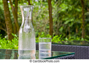 Clear Cold water flash and glass with greenery background.