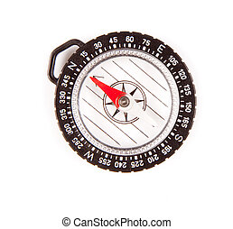 Clear compass isolated on white background. Needle is ...