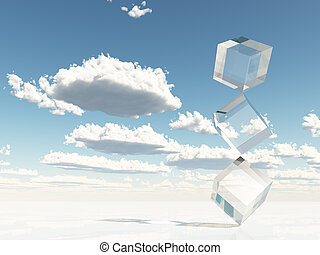 Clear Cubes Stacked on Corners