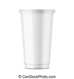 Clear disposable plastic cup with lid. - Empty clear plastic...