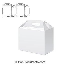 Clear Gift Carton Box - Vector Illustration of Clear Folding...