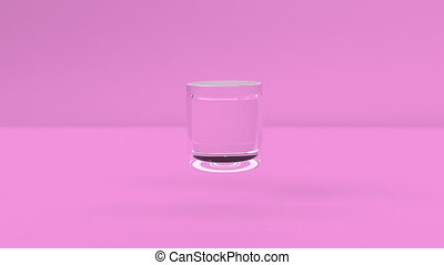 Clear Glass cosmetic empty jar Bottle rotates slowly in air on pink minimalistic cover footage endless animation