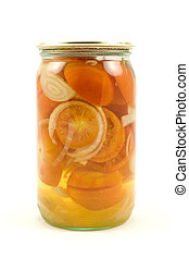 glass jar of pickled tomatoes